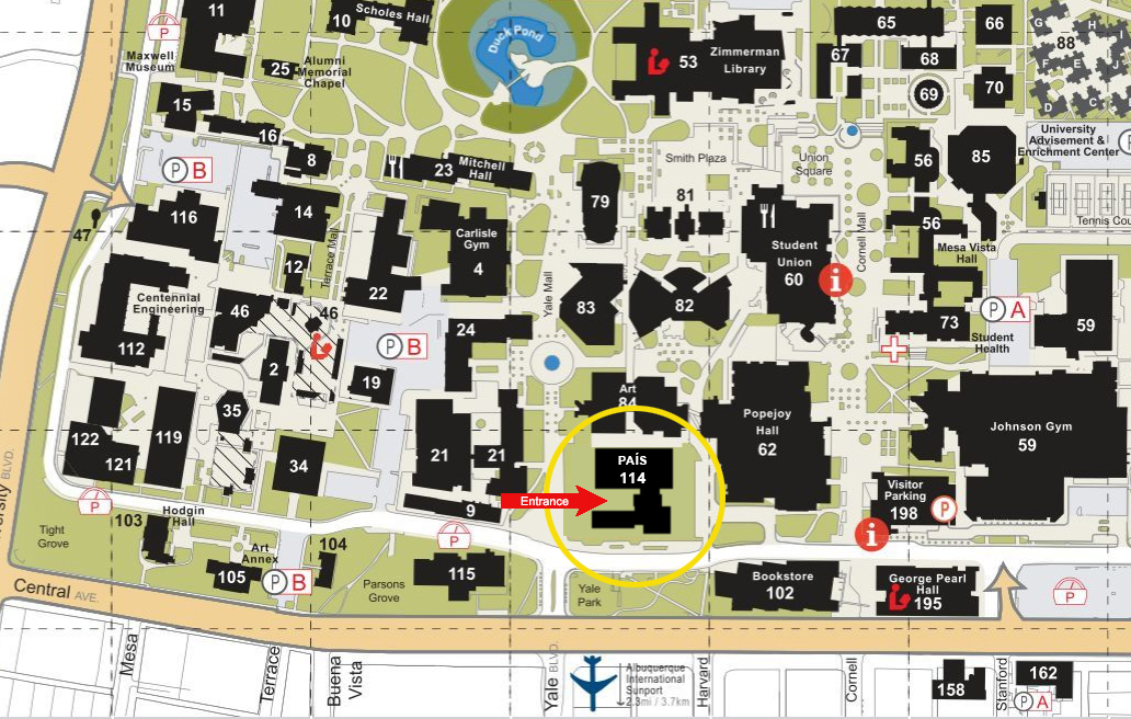 unm central campus map P A Campus Location Department Of Physics And Astronomy The unm central campus map